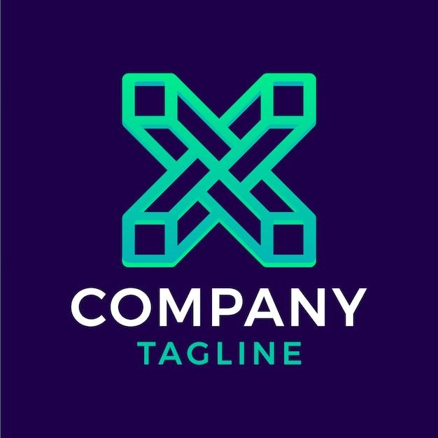 Abstract modern square monoline letter x green 3d gradient logo design
