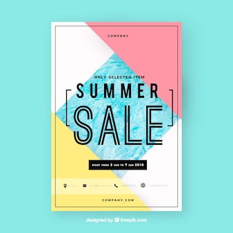 Abstract modern summer sale flyer template with image