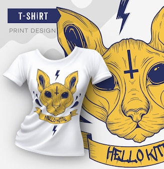 Abstract modern t-shirt print design with cat template