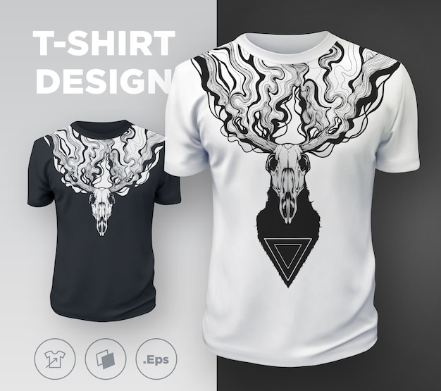Abstract modern t-shirt print  with dead deer. .