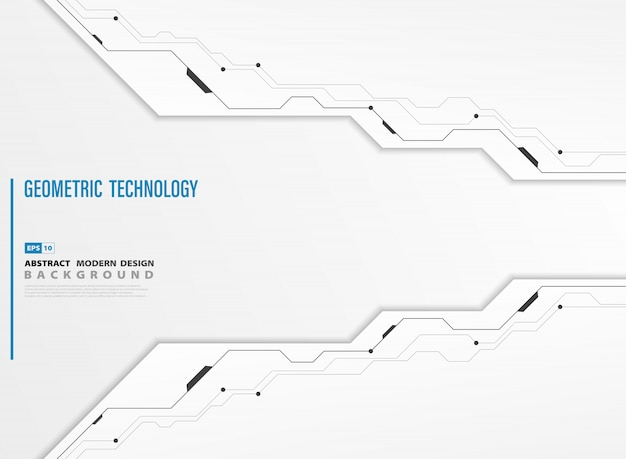 Abstract modern technology white template background of