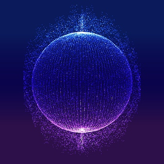 輝く粒子の球を持つ抽象的な現代技術