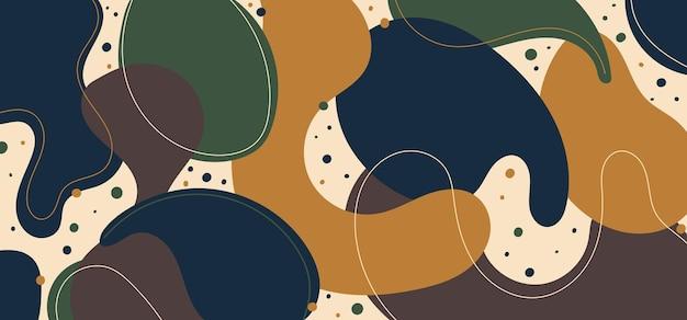 Абстрактный современный шаблон синий, зеленый и желтый органические динамические формы шаблон элементов композиции из цветных пятен и линий фона. векторная иллюстрация