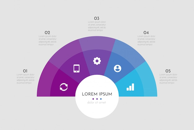Abstract modern template for creating infographics with five options.  circle chart