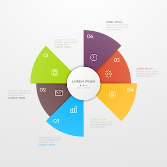 Abstract modern template for creating infographics with six options.  circle chart design. can be used for workflow layout, presentations, reports, visualizations, diagram, web design, education.