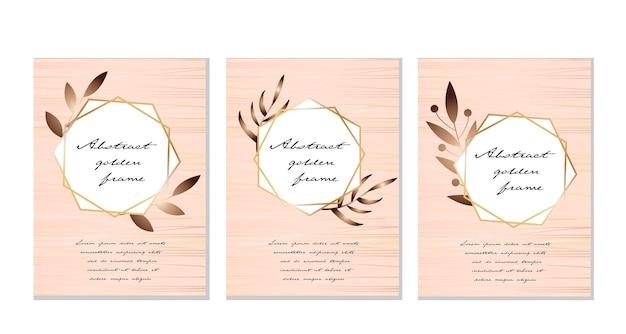 Абстрактный современный шаблон для поздравительной открытки с золотой рамкой, тропическими листьями растений.