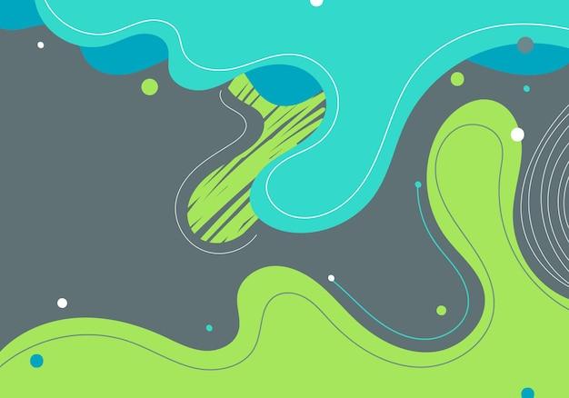灰色の背景に色付きのスポットと線の抽象的なモダンなテンプレート緑と青の有機動的形状要素の構成。ベクトルイラスト