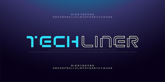 Abstract modern thin line font alphabet. technology digital neon fonts and numbers.