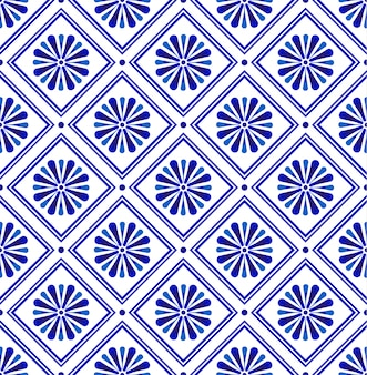 青と白の抽象的なモダンなタイルパターン、磁器のシームレスな花のセラミックの壁紙、印刷テクスチャとシルクのインディゴデザイン、陶器のヴィンテージ装飾