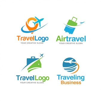 Abstract modern travel logo set