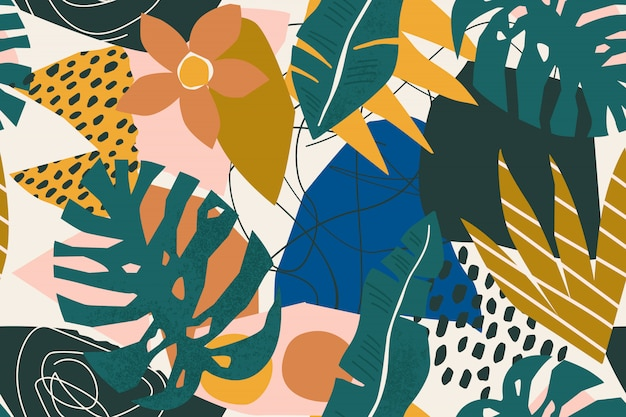 Abstract modern tropical exotic plants and geometrical shapes seamless pattern.