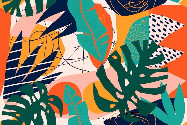 Abstract modern tropical paradise collage with various of fruits, exotic plants and geometrical shapes seamless pattern