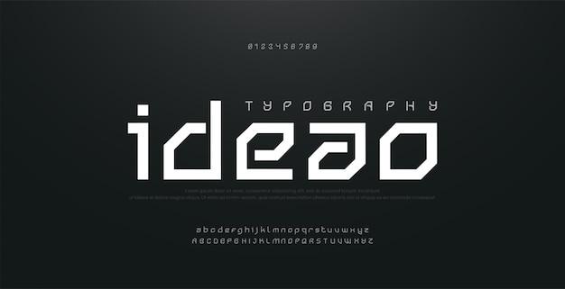 Абстрактные современные городские алфавит шрифты. типография спорт, технологии, мода, цифровой, будущий креативный логотип квадратный дизайн шрифта. иллюстрация