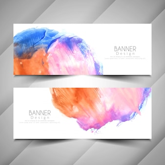 Abstract modern watercolor style banners set