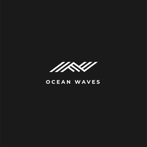 Abstract modern wave logo with negative space