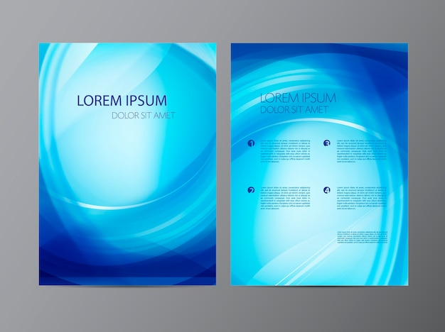 Абстрактный современный волнистый синий плавный флаер, брошюра