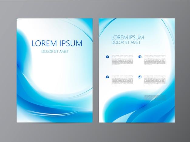 抽象的なモダンな波状の青い流れるチラシ、パンフレット