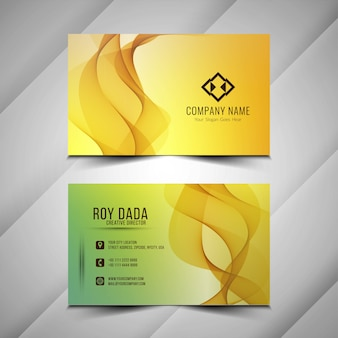 Abstract modern wavy business card template