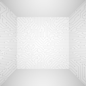 Abstract modern white technology 3d vector background with circuit board. information tech company concept