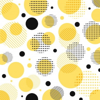 Abstract modern yellow black dots pattern