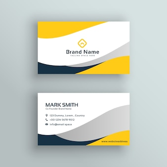 Abstract modern yellow business card