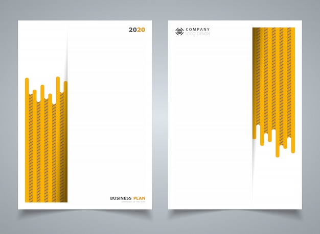 Abstract modern yellow stripe line pattern of template brochure background.