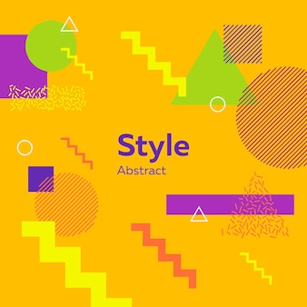 Abstract modern yellow with geometric figures