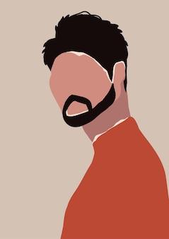 あごひげを持つ抽象的な現代の若い男