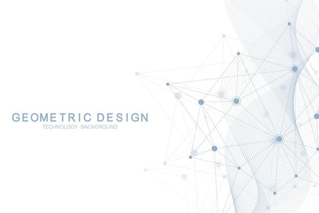 동적 선과 점이 있는 추상 분자 네트워크 패턴입니다. 흐름 파도, 과학 기술 그래픽 디자인의 감각. 벡터 기하학적 그림입니다.