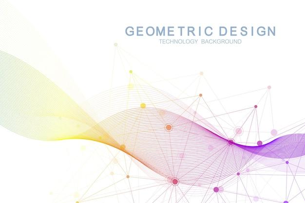 動的な線と点を持つ抽象的な分子ネットワークパターン。音、流れの波、科学技術のグラフィックデザインの感覚。ベクトルの幾何学的な図。