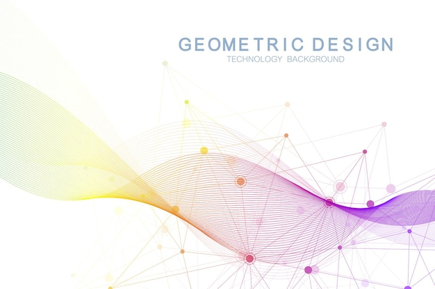 Abstract molecular network pattern with dynamic lines and points. sound, flow wave, sense of science and technology graphic design. vector geometric illustration.