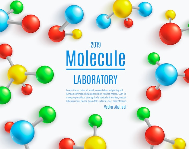 Abstract molecule banner template for labs