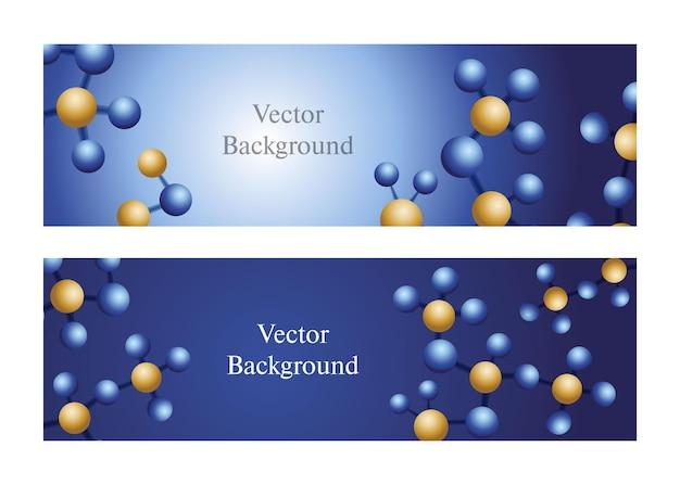 파란색 배경에 추상 분자 구조