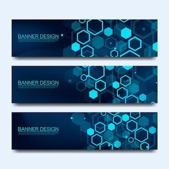 추상 분자 배너는 선, 점, 원, 다각형으로 설정됩니다. 벡터 디자인 네트워크 통신 배경입니다. 웹 배너 템플릿 또는 브로셔에 대한 미래 디지털 과학 기술 개념.