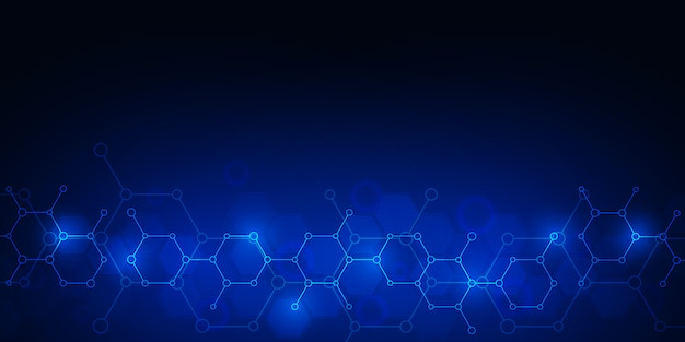 Abstract molecules on dark blue background.