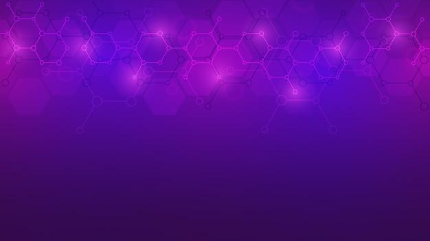 보라색 배경에 추상 분자입니다. 분자 구조 또는 화학 공학, 유전자 연구, 기술 혁신. 과학, 기술 또는 의료 개념.
