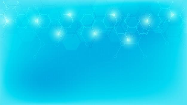 柔らかい青色の背景に抽象的な分子。分子構造または化学工学、遺伝子研究、技術革新。科学、技術、または医療の概念。
