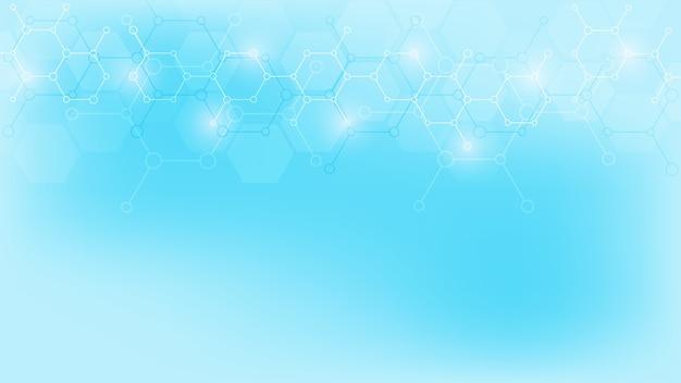 柔らかい青色の背景に抽象的な分子。分子構造または化学工学、遺伝子研究、技術革新。科学的、技術的または医学的概念。