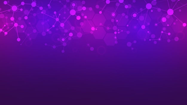 Abstract molecules on purple background. molecular structures or dna strand, neural network, genetic engineering. scientific and technological concept.