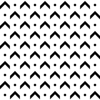 Abstract monochrome arrow dan dot seamless pattern