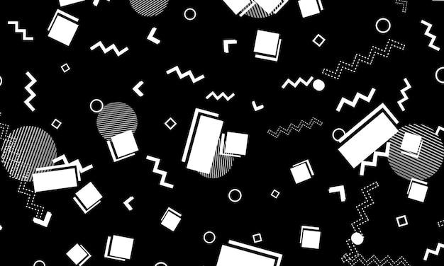 Абстрактный монохромный фон. черно-белые геометрические элементы. хипстерский стиль 80-90-х годов. обалденный абстрактный узор.