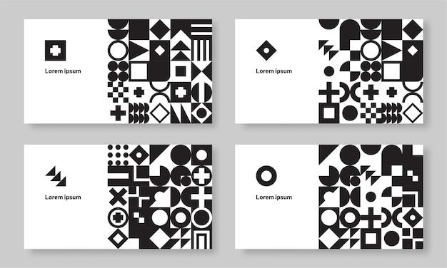 Набор абстрактных монохромных геометрических визитных карточек баухауса
