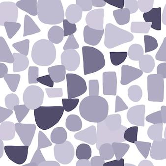 抽象的なモノクロの創造的な形のシームレスなパターン。混沌とした塗装形状のシンプルなデザインテクスチャ。