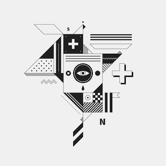 Abstract monochrome creature on white background. style of cubism and constructivism. useful for prints and posters.