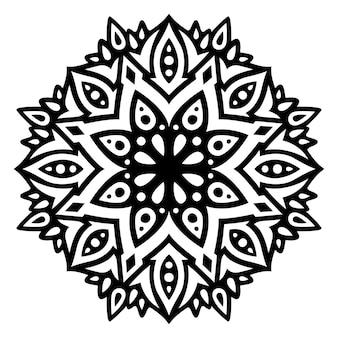 分離された抽象的な東部の単一パターンと抽象的なモノクロイラスト