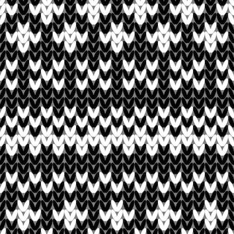 추상 흑백 니트 완벽 한 패턴입니다. 새해 카드, 크리스마스 초대장, 휴일 포장지, 겨울 방학 여행 및 스키 리조트 광고 등을 위한 니트 질감 sheme 견본