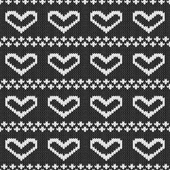 Абстрактный монохромный вязаный бесшовный образец. вяжите образец схемы текстуры для новогодней открытки, рождественского приглашения, праздничной упаковочной бумаги, зимних каникул, рекламы горнолыжных курортов и т. д.