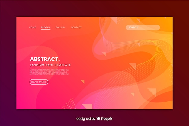 Abstract monochrome landing page flat design
