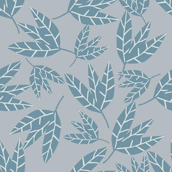 Abstract monochrome leaves seamless pattern on gray