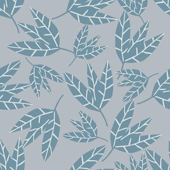 Абстрактные монохромные листья бесшовные узор на сером